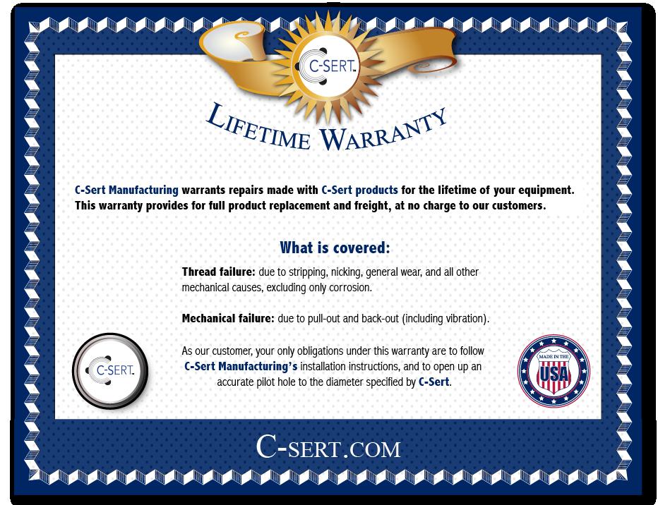 C-cert Lifetime Warranty
